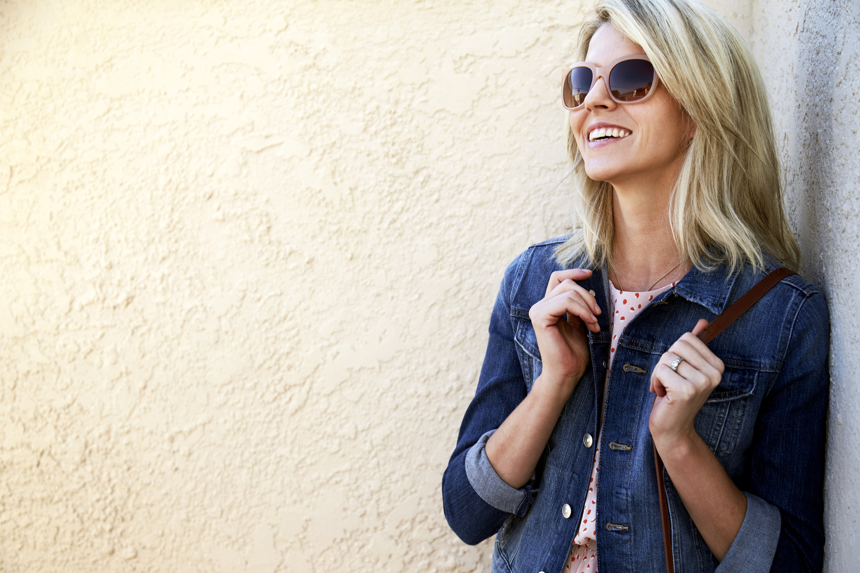 Happy blond woman
