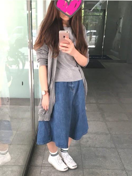 wear spring denim skirt